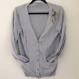Gap Jeweled Light Long Sleeve Cardigan Sweater